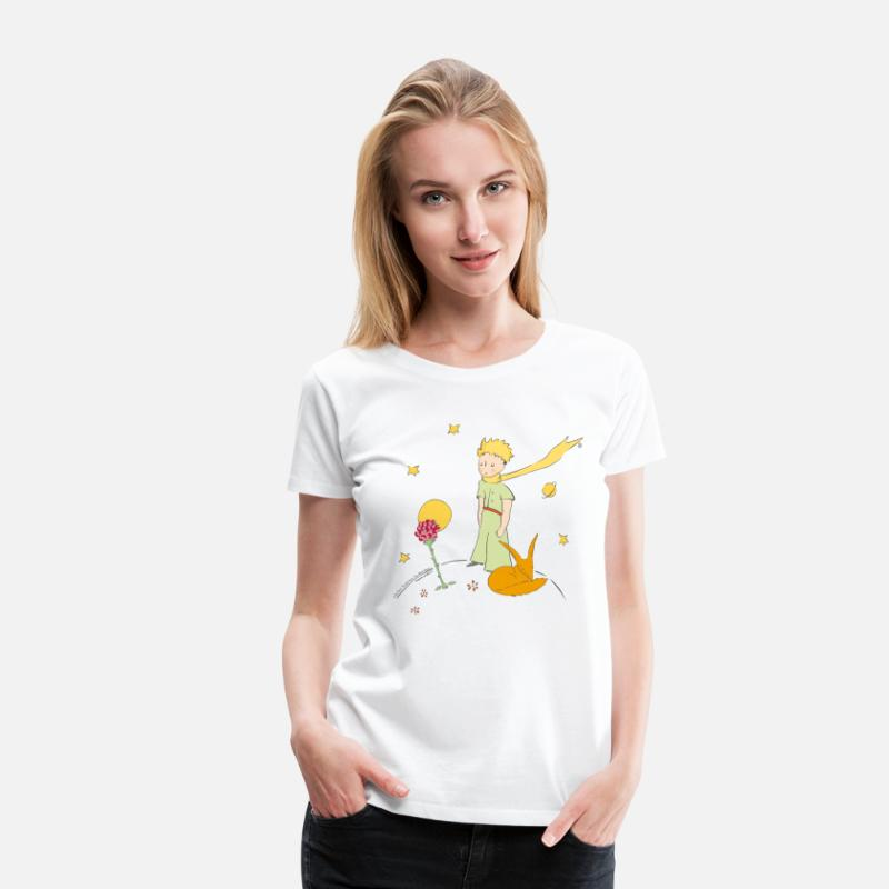 Mother's Day T-Shirts - The Little Prince Travels With Birds - Women's Premium T-Shirt white