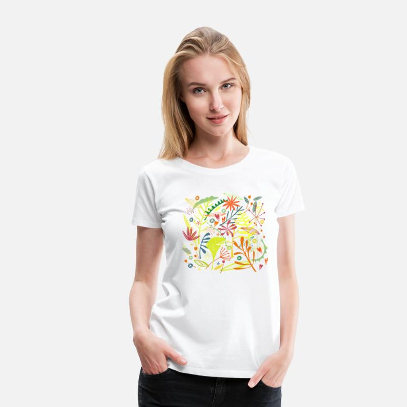 Collections T-shirt - Tropical - Dame premium T-shirt hvid