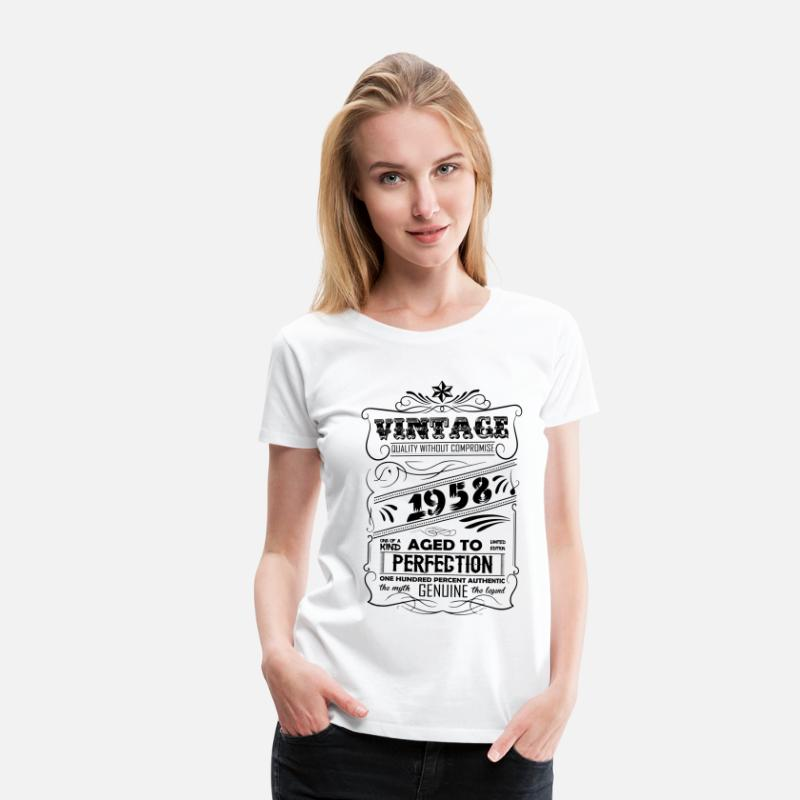 1958 T-Shirts - Vintage Aged To Perfection 1958 - Women's Premium T-Shirt white
