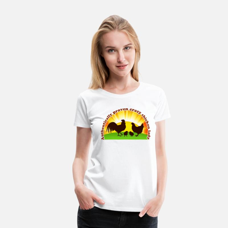 Chicken T-Shirts - Crazy chicken lady - Women's Premium T-Shirt white