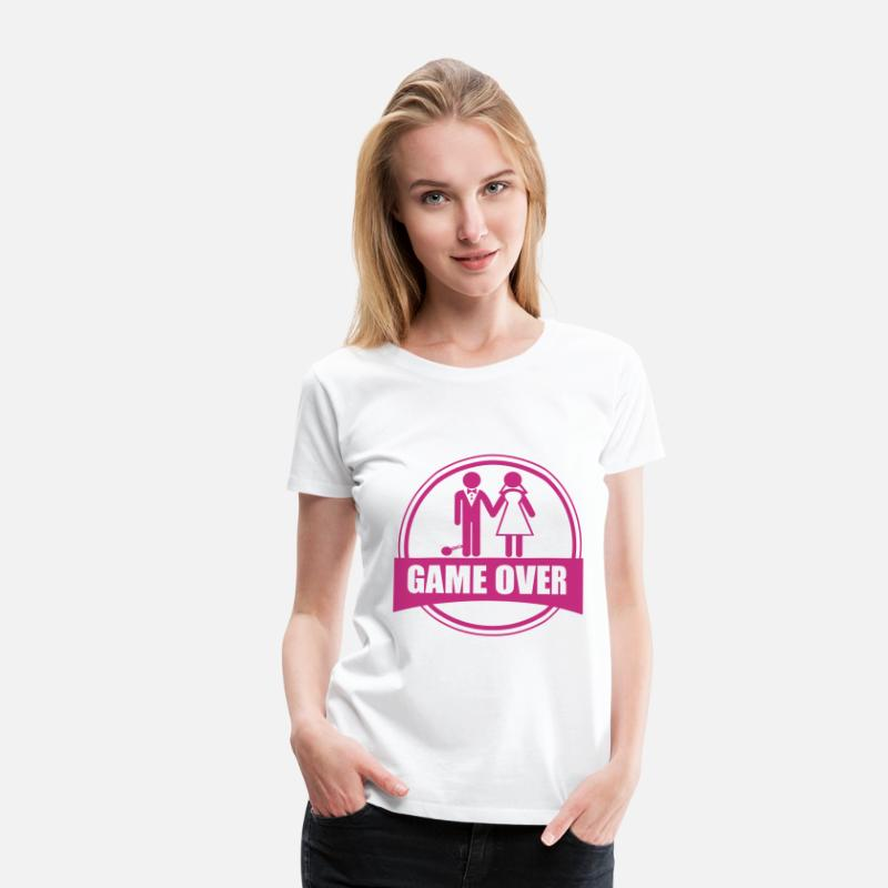 Game Over T-Shirts - Game over - Stag do - Hen party - Funny - Women's Premium T-Shirt white