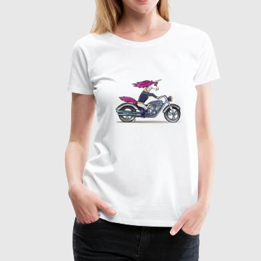 Badass Unicorn Badass Unicorn on a motorcycle - Naisten premium t-paita