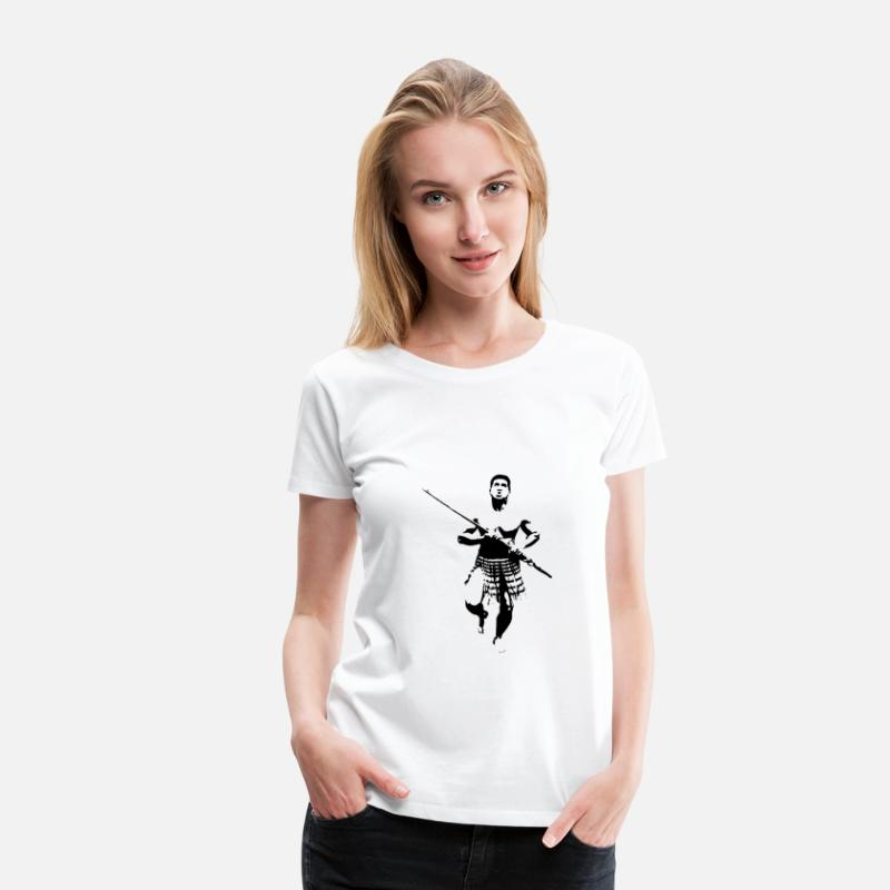 New Zealand T-Shirts - Maori Warrior with Taiaha - Women's Premium T-Shirt white