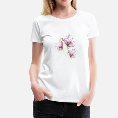 Nature Collection Watercolor Lilies Tattoo - T-shirt premium Femme