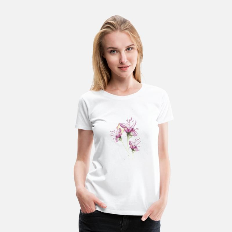Nature Collection T-Shirts - Wasserfarbe Lilien Tattoo - Frauen Premium T-Shirt Weiß