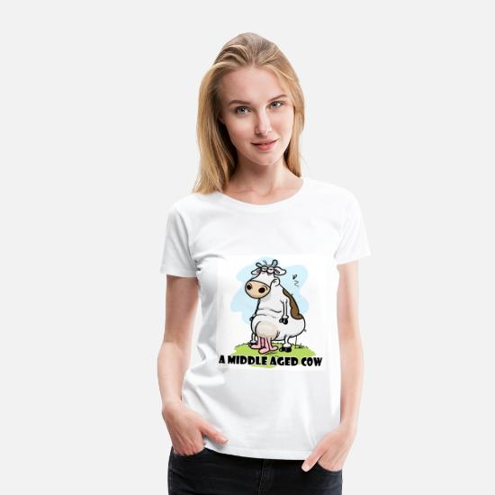 50th Birthday T-Shirts - A Middle Aged Cow - Women's Premium T-Shirt white