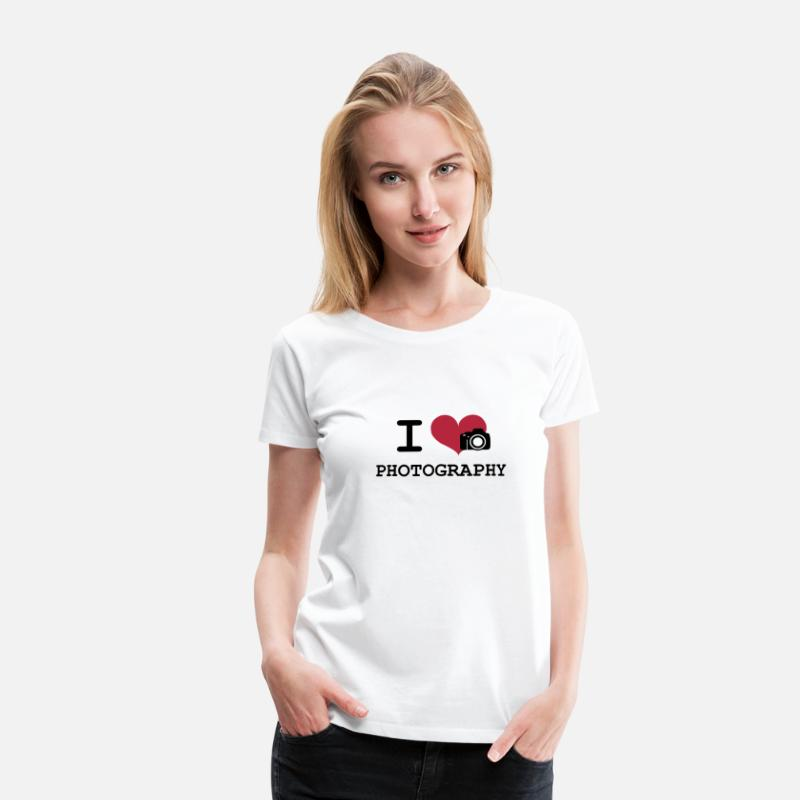 Funny T-Shirts - I Love Photography - Women's Premium T-Shirt white