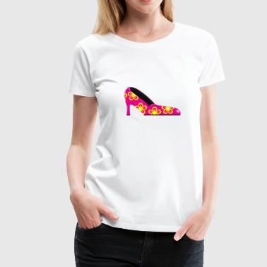 Damenschuh geblümt / lady shoe with flowers (DDP) - Frauen Premium T-Shirt