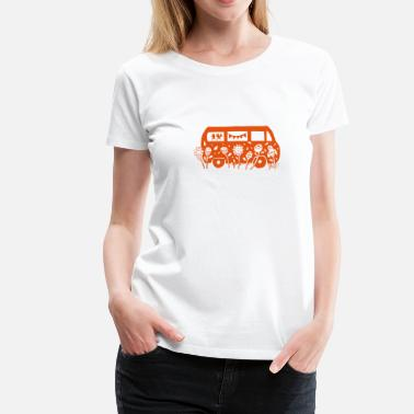Kleinbus Flower Power Bus Liebe Florale Illustration  - Frauen Premium T-Shirt