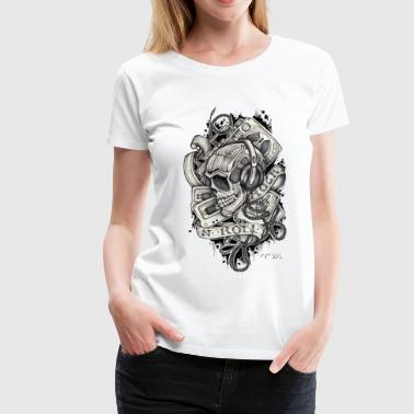 Ladies 80's skull - Frauen Premium T-Shirt