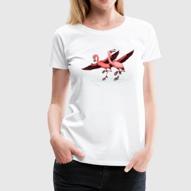 flamingo ice skaters - Women's Premium T-Shirt