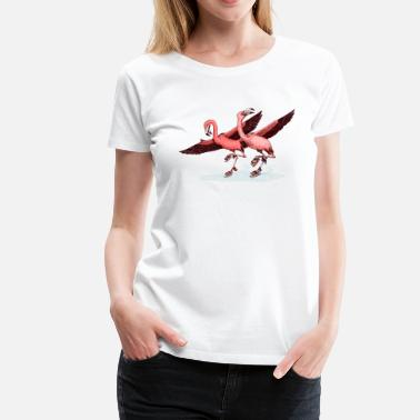 Rose flamingo ice skaters - T-shirt Premium Femme