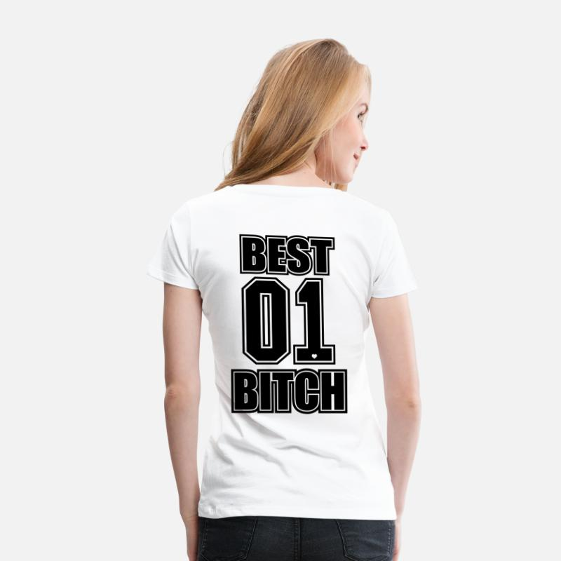 Bff T-shirts - Bästa Bitch BFF Best Friend Friends Gift - Premium T-shirt dam vit