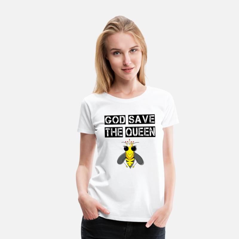 The QueenQueen Bee Maglietta Premium ApiApicoltoriGod Save N0w8mn
