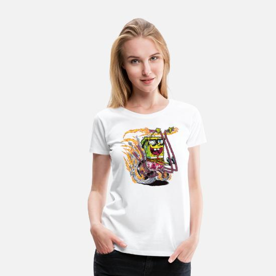 Patrick Camisetas - Mens' Shirt SpongeBob on crazy wheels - Camiseta premium mujer blanco
