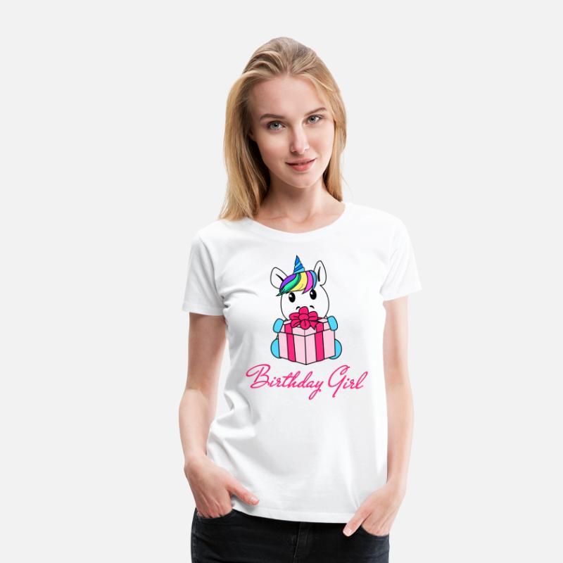 Unicorn Birthday Girl Womens Premium T Shirt