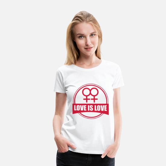 Gay T-Shirts - LOVE IS LOVE LESBIAN - Women's Premium T-Shirt white