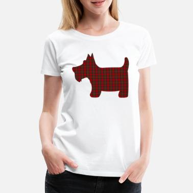 Scotland Scottie Dog in Royal Stewart Tartan - Women's Premium T-Shirt