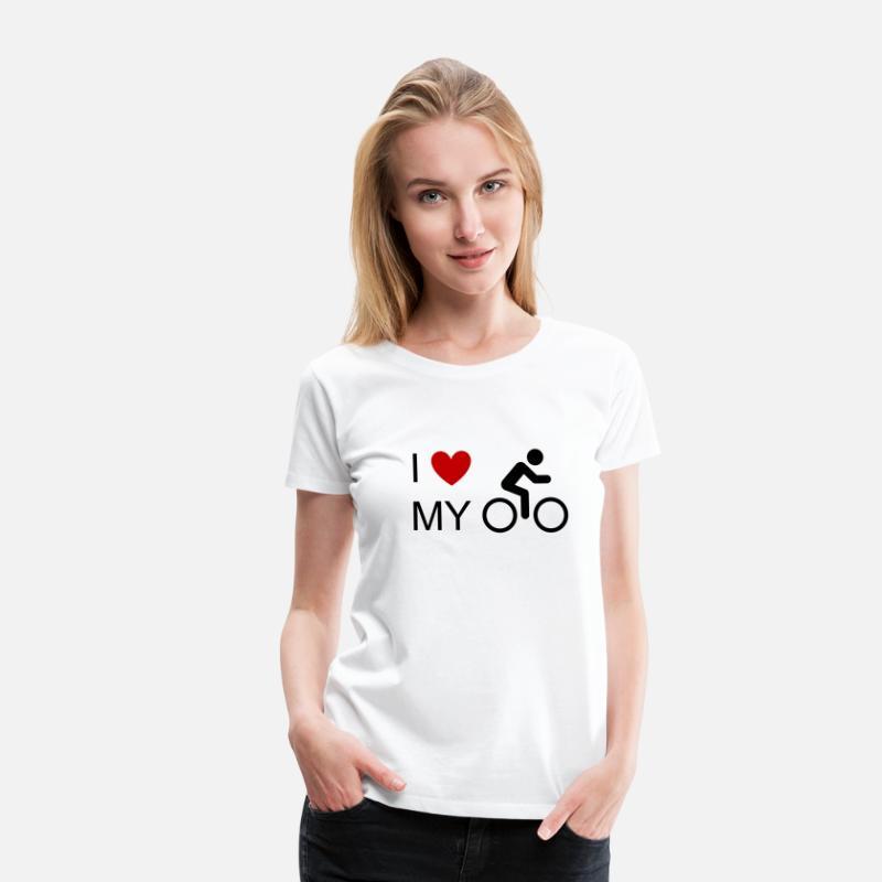 Jeg elsker min cykelcykel cykelcykel cykel mountainbike MTB Dame premium T shirt hvid