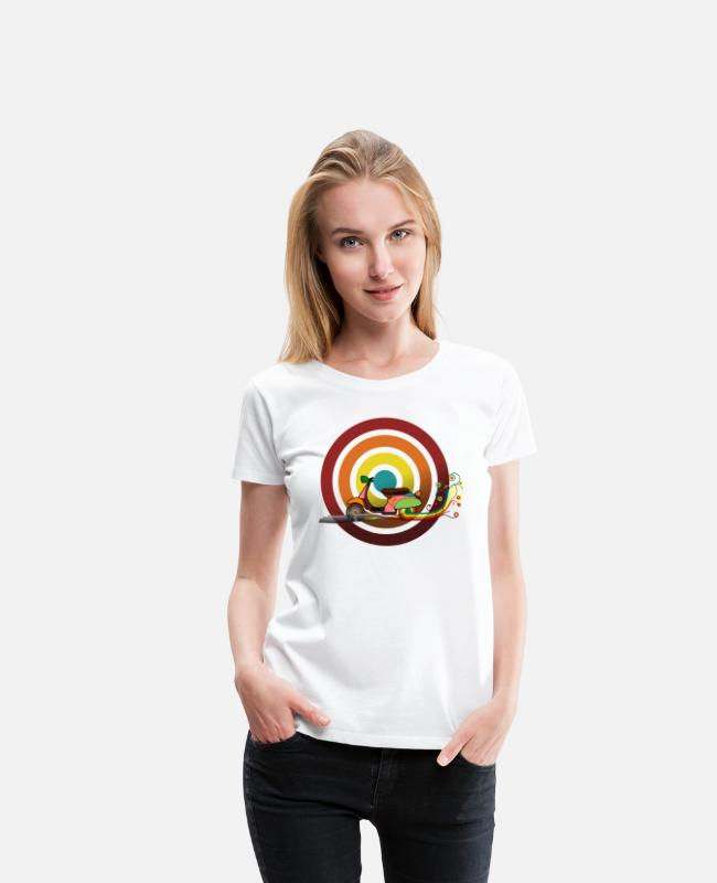 Trace T-Shirts - Retro Motorcycle Circles Colored track DIGITAL - Women's Premium T-Shirt white
