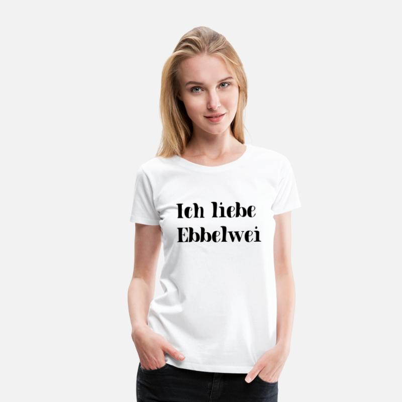 cc5a14f4ef58c5 Apfel T-Shirts - Ich Liebe Ebbelwei Apfelwein Wein Liebe - Frauen Premium T-