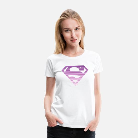 Clark Kent T-shirts - DC Comics Superman Classic Logo Striped - Premium T-shirt dame hvid