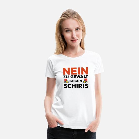 Gift Idea T-Shirts - No to violence against Schiris football gift - Women's Premium T-Shirt white
