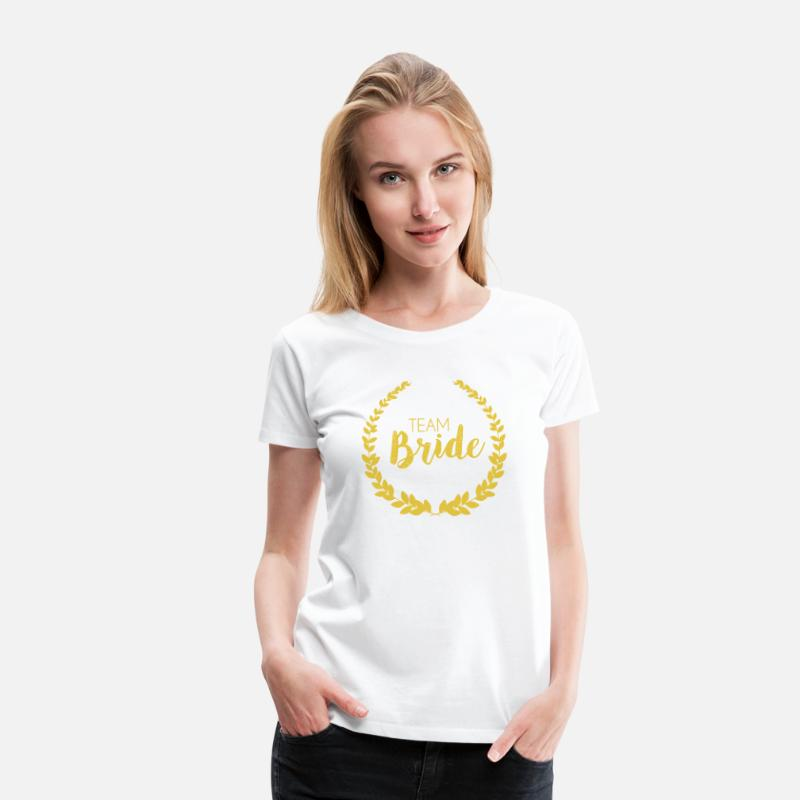 Team Bride T-Shirts - Team Bride Gold Yellow - Women's Premium T-Shirt white
