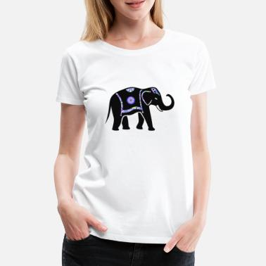 Pachyderm Elephant pachyderm with colorful pattern - Women's Premium T-Shirt