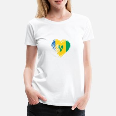 St Vincent En De Grenadines Grungy I Love St Vincents & Grenadines Heart Flag - Vrouwen Premium T-shirt