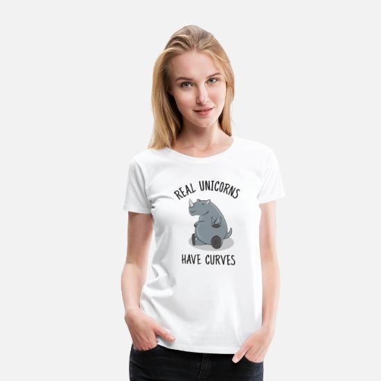Roliga T-shirts - Real unicorns have curves - Premium T-shirt dam vit