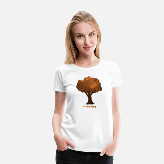 Baum T-Shirts - Steampunk Baum Tree Gear - Frauen Premium T-Shirt Weiß