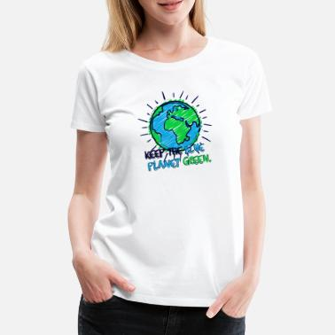 Climate Earth & Lettering (Blue Planet Green) - Women's Premium T-Shirt