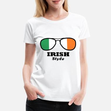 Clover Ireland Flag - Irish Style Glasses - Women's Premium T-Shirt