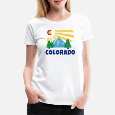 The Golden State Native Colorado Gifts CO State Flag Sunrise - Women's Premium T-Shirt