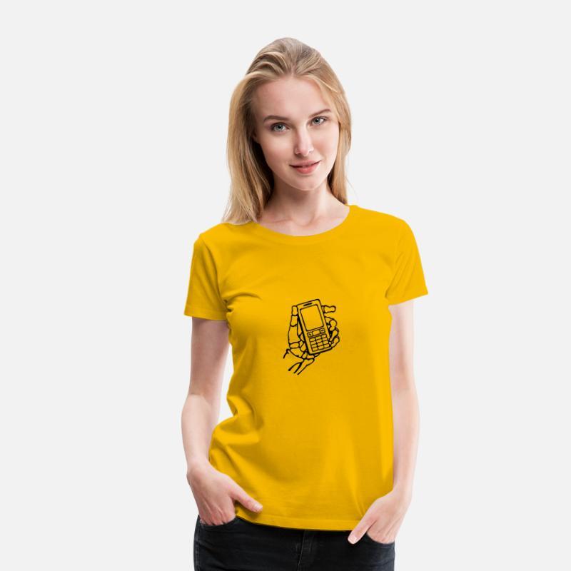 Skelet hånd med mobiltelefon. Intet signal. Dame premium T shirt sol gul