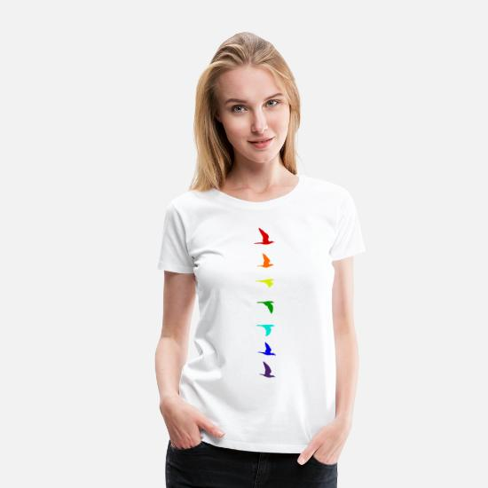 Symbol T-Shirts - Rainbow flight of birds colourful LGBTIQA+ LGBTQ - Frauen Premium T-Shirt Weiß