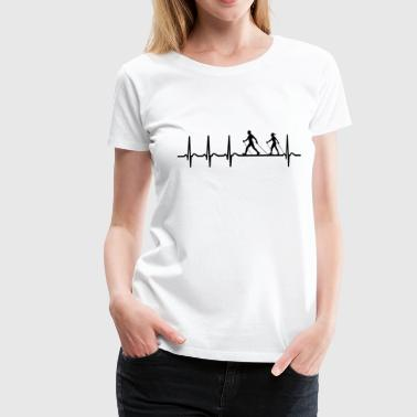 Nordic Walking Shirt Heartbeat Graphic Gift - Women's Premium T-Shirt