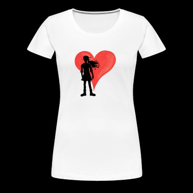Girl with long hair and big heart - Women's Premium T-Shirt