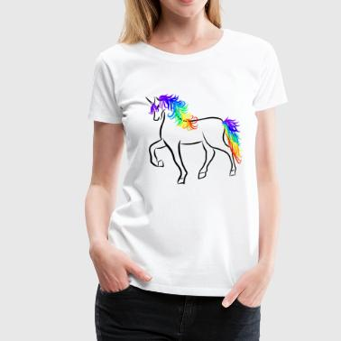 Unicorn Brushstroke Rainbow - Women's Premium T-Shirt