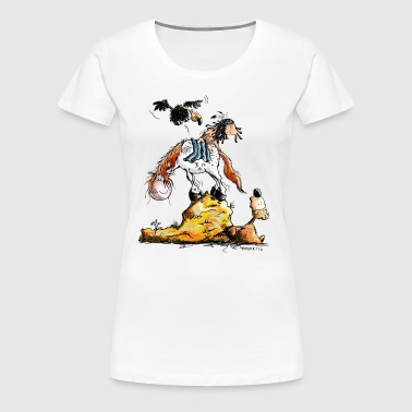 Litte Indian In The Wildlife - Cartoon - Gift - Women's Premium T-Shirt