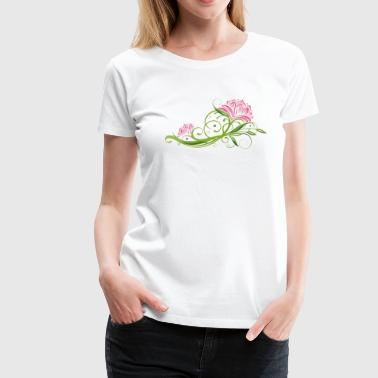 Lotus flowers with tendril and leaves. Lotus. - Women's Premium T-Shirt