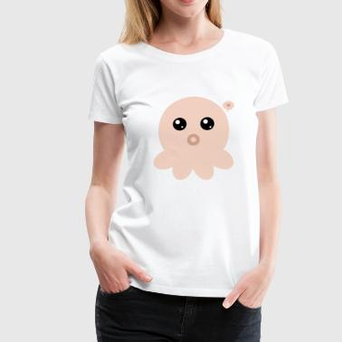Orange Kawaii Octopus - Women's Premium T-Shirt