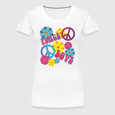 älskar fred hippie flower power - Premium-T-shirt dam