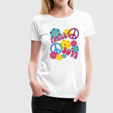 love peace hippie flower power - Women's Premium T-Shirt