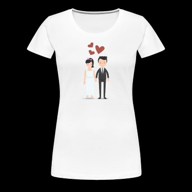 Loving wedding couple sweet illustration with heart - Women's Premium T-Shirt