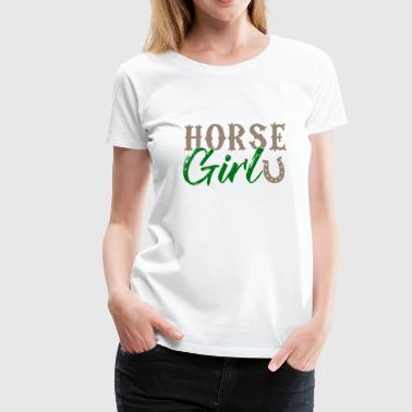 Horse Girl - Pferdemädchen Horseshoe Riding - Premium-T-shirt dam