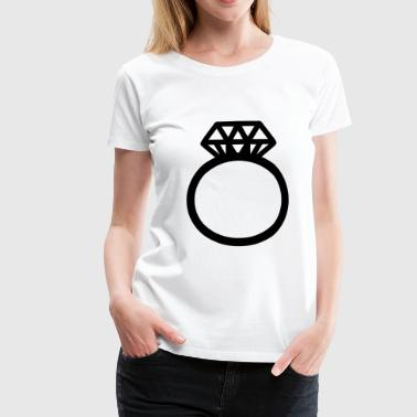 Engagement ring diamond ring wedding ring motif clipart - Women's Premium T-Shirt