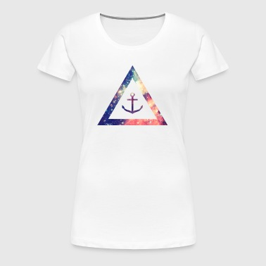 Galaxy / universe / hipster triangle with anchor - Women's Premium T-Shirt