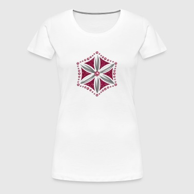 Flower of Aphrodite, silver, Symbol of  love, beauty and transformation, Power Symbol, Talisman - Women's Premium T-Shirt